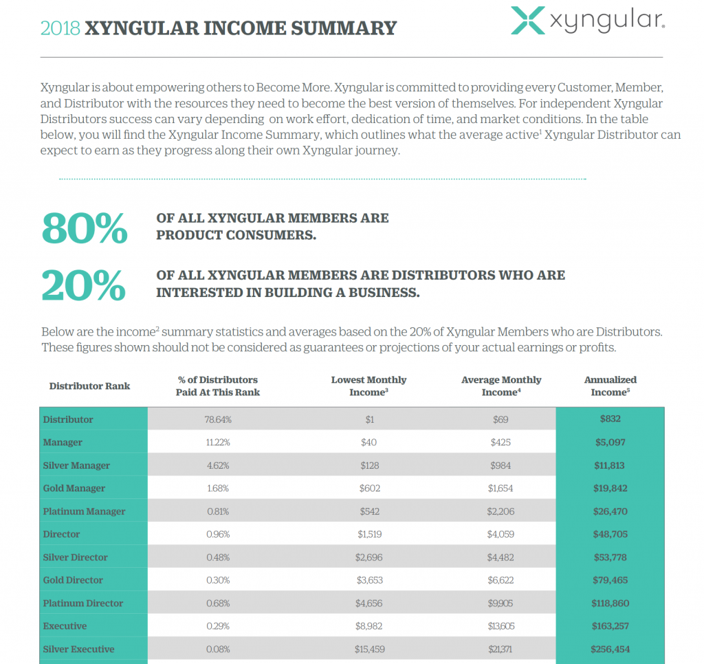 Xyngular Income Summary